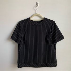 Anne Klein pinstripe button back top